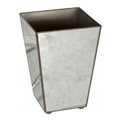Worlds Away Antique Mirror Square Wastebasket, , Plain - Worlds way antique mirror square Wastebasket, , plain