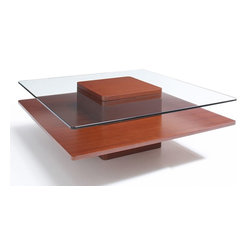 "Jesper - Jesper - Entertainment Collection - 40"" Square Glass & Wood Coffee Table - Cherr - The beauty of real wood captures the warmth of any home or office. Made with the finest real wood veneers and solid wood edges, this collection's high-quality, European designed constructions provides optimum load-bearing performance and life-long stability."