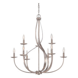 Quoizel - Quoizel Italian Fresco Mid. Chandeliers - SKU: SER5009IF - Feminine, airy and radiant are just a few words to describe the almost ethereal quality of the Serenity Chandeliers. The swirling fixture appears in motion and is enhanced by the stunning Italian Fresco finish.