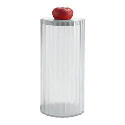 """Alessi - Alessi """"Rigatone"""" Spaghetti Jar - Rigatoni serves as a source of inspiration for this playful pasta jar. You'll see it's perfect for storing spaghetti or just about any type of noodle — and you'll certainly """"eat up"""" the delicious tomato-shaped handle."""