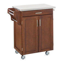Home Styles - Home Styles Furniture Kitchen Cart in Cherry with Stainless Steel Top - Home Styles - Kitchen Carts - 90010072 - The freedom to conduct food /beverage preparation anywhere you wish sums up the entire appeal of the Home Styles Cherry Wood Cart. Whatever the task entails this cart is more than up to it with an easy-clean stainless steel table top long utensil drawer and single adjustable shelf lower cabinet. Four wheel casters allow for freedom of movement and feature a locking function for safety. Two side-mounted towel racks and a spice rack add further practicality while a cherry finish blesses this cart with an inherent warmth.