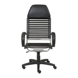Euro Style - Euro Style Bungie Flat Executive High Back Chair X-KLB66520 - There cannot be too many Bungie chairs. The cool comfort of this design is as popular as ever. This version is made with flat cords and an all leather headrest. It invites you to lean back and think big thoughts or simply admire your to-do list that's completely done.