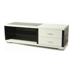 Pastel Furniture Fountainebleau TV Stand, Black and White