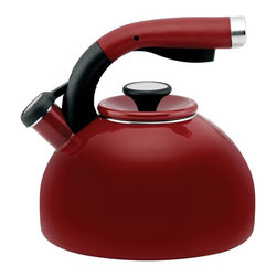 Circulon - Circulon Carbon Steel 2-qt. Morning Bird Teakettle - 56579 - Shop for Kettles (Stovetop) from Hayneedle.com! Smart features and vivid color options make the Circulon Carbon Steel 2-qt. Morning Bird Teakettle just right for you. This teakettle has sleek modern style and an easy-squeeze handle and pour spout. It holds up to 8 cups/2 quarts and does it in style. Your new favorite kettle is made of carbon steel and is backed by a lifetime limited warranty from the manufacturer.About CirculonCirculon's gourmet nonstick cookware is engineered to make home cooking fast easy healthy and delicious. In 1985 Circulon revolutionized the industry by introducing the first hard-anodized nonstick cookware. Their patented TOTAL Food Release System creates Circulon's signature circular groove pattern on the cooking surface which reduces the amount of nonstick that comes into contact with cooking utensils for reduced abrasion and superior durability. Combined with the most advanced nonstick coating from DuPont this innovative technology is also dishwasher-safe and induction-suitable. New cooks and seasoned chefs alike will be satisfied with Circulon cookware for a lifetime - guaranteed.
