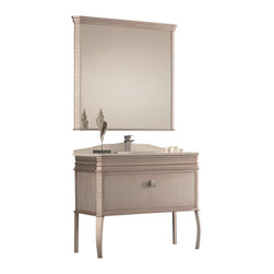 "Macral - London Bathroom Vanity, Antique Silver, 32-Inches - London Bathroom Vanity in 32"" wide. White Quartz counter-top and  White ceramic under-mount sink, comes with the back-splash included. The price ONLY includes the vanity, the countertop and the under-mount sink, the faucet is NOT INCLUDED, but can be sold separately. This vanity has one big and spacious drawer with soft close and a genuine SWAROVSKI Crystal Handle, another small drawer with push opening. Made in solid Wood Antique Silver lacquered. Easy installation. Designed and manufactured in Spain."
