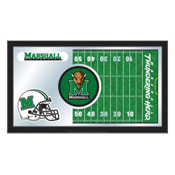 "Holland Bar Stool - Holland Bar Stool Marshall Football Mirror - Marshall Football Mirror belongs to College Collection by Holland Bar Stool The perfect way to show your school pride, our Football Mirror displays your school's symbols with a style that fits any setting.  With it's simple but elegant design, colors burst through the 1/8"" thick glass and are highlighted by the mirrored accents.  Framed with a black, 1 1/4 wrapped wood frame with saw tooth hangers, this 15""(H) x 26""(W) mirror is ideal for your office, garage, or any room of the house.  Whether purchasing as a gift for a recent grad, sports superfan, or for yourself, you can take satisfaction knowing you're buying a mirror that is proudly Made in the USA by Holland Bar Stool Company, Holland, MI.   Mirror (1)"