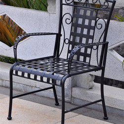 International Caravan - International Caravan Iron Lattice Lawn Chairs (Set of 2) - Add the elegance of a bygone era to your porch,deck,or patio with this stylish lightweight metal lawn chair pair. This set of two lawn chairs is crafted from premium wrought iron and feature an intricate lattice design on the seat and back.