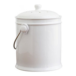 Ceramic Compost Bin 1.0 Gallon, White - Use this sturdy, durable, earthenware ceramic compost bin to hold food scraps from your kitchen until they®re transferred to an outdoor compost area. Charcoal filter absorbs odors for 6 months.