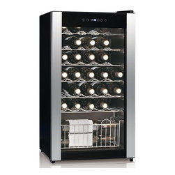 Equator Advanced Appliances - Equator Advanced Appliances WR 116-33 Wine Cooler - Black - WR 116-33 - Shop for Wine Refrigerators from Hayneedle.com! Protect your investment with the Equator Advanced Appliances WR 116-33 Wine Cooler - Black. Set the temperature between 5-18 degrees C (41-64 degrees F) through a touch screen interface. LED and incandescent interior lighting turns on when the door is opened. Chrome-finished stainless steel shelving adjusts and slides out to meet your needs. A flush back saves space while adjustable legs a recessed door handle and the see-through safety glass door allow it to contribute the aesthetic value of your space. Automatic defrost feature reduces the burden of maintenance. Made with environmental consciousness and energy savings in mind this cooler is designed to go easy on your electric bill. You have the option of locking this cooler.About Equator Advanced AppliancesEquator wants to save you time space and energy. The Equator design process is based on the notion that our devices should simplify your chores and make your life better. At the same time we understand we're responsible for responsibly managing Earth's resources. Equator always aims to create products that reduce energy and water usage while reducing the pollutants generated throughout the entire life cycle of our products. Superior customer service and technical support are another crucial aspect of the Equator mission. Our products have won numerous awards from Consumer Reports Design Journal and appliance manufacturer trade associations.