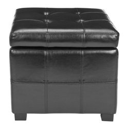 Safavieh - Maiden Square Tufted Ottoman - Black - The Maiden Square Tufted Ottoman is an indulgence in luxe, functional contemporary style. Crafted with black birch wood and black bicast leather, its posh tufts conceal ample storage space below. Ideal for any room in need of a chic, functional update.