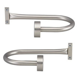 Set of 2 Matte Nickel Tiebacks - Sturdy, contemporary tiebacks are finished in classic matte nickel powdercoat. Coordinate with our Matte Nickel curtain hardware collections.