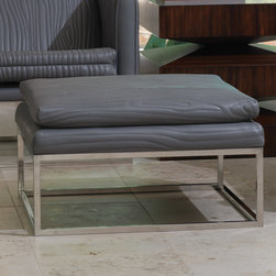 """Global Views - Global Views Faux Bois Grey Tuxedo Ottoman - Edgy sophistication reigns supreme when gray leather meets faux bois detailing on the statement-making Global Views Tuxedo ottoman. Perched upon a sleek silver base, the foot rest's mid-century modern vibe delivers contemporary drama to a living room. 28""""W x 28""""D x 17""""H; Gray quilted cowhide leather; Polished stainless steel base; Made of natural materials and shipped with recyclable packaging"""