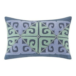 Echo - Set of 2 Kamala Blue Decorative Pillows with Soft Blue & Green Embroidery - Oblong pillow set features an embroidered abstract design and is made from cotton faux linen.
