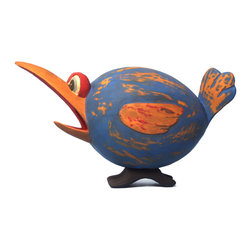 Songbird Essentials - Blue and Orange Loony Bird Birdhouse - Songbird Essentials adds color and whimsy to any garden with our beautifully detailed wooden birdhouses that come ready to hang under the canopy of your trees. Hand-carved from albesia wood, a renewable resource, each birdhouse is hand painted with non-toxic paints and coated with polyurethane to protect them from the elements. By using all natural and nontoxic components Songbird Essentials has created a safe environment complete with clean-out for our feathered friends.