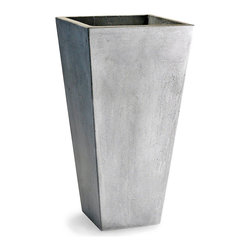 Clay Planter - 15.75'' x 30'' - Tall and intriguing with a confined footprint, the Clay Planter is reminiscent of modern architecture in its grey stone finish and confidently-planned outward angles.  This tapered planter is ideal for presenting tall, manicured plantings or loose, trailing foliage.  Its distressed exterior, weathered and austere, unites it with permanent features of its surroundings.