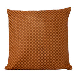 Fandindo - South American Hair-On Cowhide Engraved Pillow (Insert not included) - This is a wonderful hie piece carefully engraved using  italian old pressing technology making it geometric pattern more sleek.