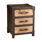 Kathy Kuo Home - Chester Industrial Rustic Raw Steel Wood Storage End Table - The contrast of natural wood and iron is celebrated in this three drawer storage table.  Borrowing style from vintage trunks and industrial pieces,  the Chester storage table is a natural choice for rustic cabins, industrial lofts and country homes.