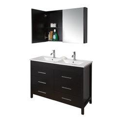 VIGO Maxine Espresso Double Sink Bathroom Vanity - with Vitreous China Top
