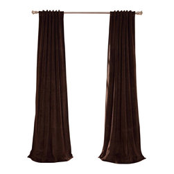 Exclusive Fabrics & Furnishings, LLC - Signature Java Blackout Velvet Curtain - 100% Poly Velvet. 3 Pole Pocket with Back Tab (Hidden Tab) & Hook Belt Header. Plush Blackout Lining. Imported. Dry Clean Only.