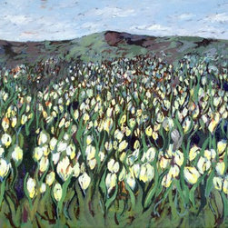 """""""Tulip Field"""" Artwork - This long narrow painting has depth, charm and energy. the rolling hills are painted in green, gray greens and purple/greens. the white tulips have specs of yellow and light blue. it measures 12 inches high and 24 inches long. it is 1/2 inch deep so, framing is recommended."""
