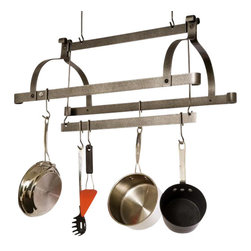 Enclume - Enclume PR38 Three Bar Pot Rack Hammered Steel Finish - ENCLUME PR38 THREE-BAR POT RACK HAMMERED STEEL FINISH