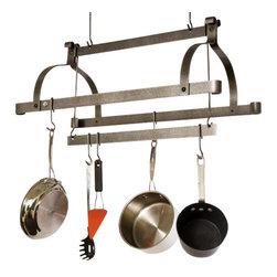 Enclume - Enclume PR38 Three Bar Pot Rack Hammered Steel Finish - ENCLUME PR38 THREE-BAR POT RACK HAMMERED STEEL FINISH