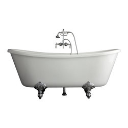 "Baths of Distinction - Hotel Collection Bateau Double Slipper Clawfoot Bathtub/Faucet Package, 59"" - Product Details:"