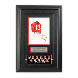 """Heritage Sports Art - Original art of the NFL 1952 San Francisco 49ers uniform - This beautifully framed piece features an original piece of watercolor artwork glass-framed in an attractive two inch wide black resin frame with a double mat. The outer dimensions of the framed piece are approximately 17"""" wide x 24.5"""" high, although the exact size will vary according to the size of the original piece of art. At the core of the framed piece is the actual piece of original artwork as painted by the artist on textured 100% rag, water-marked watercolor paper. In many cases the original artwork has handwritten notes in pencil from the artist. Simply put, this is beautiful, one-of-a-kind artwork. The outer mat is a rich textured black acid-free mat with a decorative inset white v-groove, while the inner mat is a complimentary colored acid-free mat reflecting one of the team's primary colors. The image of this framed piece shows the mat color that we use (Red). Beneath the artwork is a silver plate with black text describing the original artwork. The text for this piece will read: This original, one-of-a-kind watercolor painting of the 1952 San Francisco 49ers uniform is the original artwork that was used in the creation of this San Francisco 49ers uniform evolution print and tens of thousands of other San Francisco 49ers products that have been sold across North America. This original piece of art was painted by artist Nola McConnan for Maple Leaf Productions Ltd. Beneath the silver plate is a 3"""" x 9"""" reproduction of a well known, best-selling print that celebrates the history of the team. The print beautifully illustrates the chronological evolution of the team's uniform and shows you how the original art was used in the creation of this print. If you look closely, you will see that the print features the actual artwork being offered for sale. The piece is framed with an extremely high quality framing glass. We have used this glass style for many years with excellent result"""