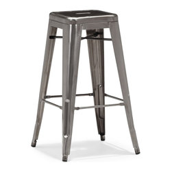 Zuo Modern - Marius Bar Chair in Gunmetal - Set of 4 - Set of 4. Electrical plated. Stackable. Seat depth: 12 in.. Seat width: 12 in.. Overall: 17.50 in. W x 17.50 in. D x 29.50 in. H (48.60 lbs.). Warranty. Care InstructionsSeen in popular bistros in France, the Marius bar and counter chair will transform your space into a café in Paris.