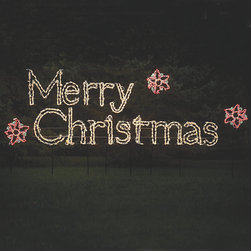 Frontgate - Merry Christmas Lighted Display Sign - Made from durable, rust-resistant powdercoated steel. Mini lights are securely hand-wound and attached to the frame. 4'-6' adjustable stakes allow for easy placement anywhere in your yard, or hang on a roof or porch. Polymer UV-coated domes shield lights from fading or damage. UL approved. The Merry Christmas Lighted Display Sign spells out a joyful holiday greeting for friends, family, and neighbors alike. Measuring 6'-wide and outlined in white mini lights, this outdoor display is a can't-miss message that will dazzle and impress, even at a distance.  .  .  .  .  .