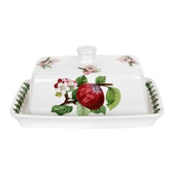 Portmeirion Pomona Classics Covered Butter Dish - About PortmeirionStrikingly beautiful, eminently practical, refreshingly affordable. These are the enduring values bequeathed to Portmeirion by its legendary co-founder and designer, Susan Williams-Ellis. Her father, architect Sir Clough Williams-Ellis, was the designer of Portmeirion, the North Wales village whose fanciful architecture has drawn tourists and artists from around the world (including the creators of the classic 1960s TV show The Prisoner). Inspired by her fine arts training and creation of ceramic gifts for the village's gift shop, Susan Williams-Ellis (along with her husband Euan Cooper-Willis) founded Portmeirion Pottery in 1960. After 50+ years of innovation, the Portmeirion Group is not only an icon of British design, but also a testament to the extraordinarily creative life of Susan Williams-Ellis.The style of Portmeirion dinnerware and serveware is marked by a passion for both pottery manufacturing and trend-setting design. Beautiful, tactile, nature-inspired patterns are a defining quality of Portmeirion housewares, from its world-renowned botanical designs modeled on antiquarian books to the breezy, natural colors of its porcelain and earthenware. Today, the Portmeirion Group's design legacy continues to evolve, through iconic brands such as Spode, the Pomona Classics collection, and the award-winning collaboration of Sophie Conran for Portmeirion. Pomona for Portmeirion:Classical in both its inspiration and its style, the Pomona Collection from Portmeirion Group is a garden of earthly delights. Named for the ancient Roman goddess of fruit and abundance, its lifelike patterns and fruit motifs are inspired by a collection of early 19th-century books of hand-colored botanical drawings. The Pomona Collection was introduced in 1982 by legendary designer and Portmeirion co-founder Susan Williams-Ellis, whose iconic garden- and botanical-themed designs are still among the world's most popular casual