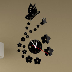 ColorfulHall Co., LTD - 3D Wall posters Butterfly Flower, Black - 3D Wall posters Butterfly Flower