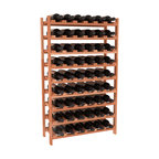 54 Bottle Stackable Wine Rack in Redwood - Three times the capacity at a fraction of the price for the 18 Bottle Stackable. Wooden dowels enable easy expansion for the most novice of DIY hobbyists. Stack them as high as you like or use them on a counter. Just because we bundle them doesn't mean you have to as well!