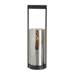 Arteriors Home - Arteriors Home Egan Large Iron/Glass Hurricane - Arteriors Home 2635 - Arteriors Home 2635 - Perfect for pillar candles or tea lights, this hurricane features natural dark iron frame with mirrored glass candleholder in mercury luster finish. Available in 3 size options. Candles not included.