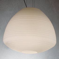 Michele De Lucchi, Produzione Privata - Perseo 44 Suspension Lamp - Frosted - Michele De Lucchi, Produzione Privata - Inspired by the fragility and beauty of Japanese lanterns, these Murano glass bubbles are expertly mouth blown. Their organic, flowing shape is a sculptural masterpiece. The Perseo is sure to endure as a classic.
