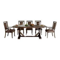 Riverside Furniture - Riverside Furniture Promenade 9 Piece Trestle Table Set in Warm Cocoa - Riverside Furniture - Dining Sets - 845539PCPKG