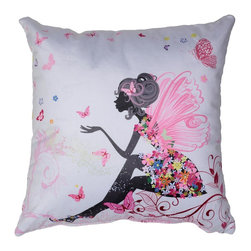 Cortesi Home - Very Fairy Accent Pillow - Add a sweet and charming accent to your room with this soft velveteen pillow featuring butterflies, flowers, and a cute fairy. The pillow cover is washable and features a hidden zipper. Inside, the pillow fill is overstuffed for added comfort and durability. Perfect gift for a little girls bedroom. Quantity of 1.
