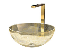 Maestrobath - Murano Laguna Luxury Glass Vessel Sink, Gold - Creating master pieces with artisan traditions is only possible with elegant and timeless materials, Murano glass vessel sink is one of them. By combining innovative techniques and years of experience in the art of glass bathroom sink making passed from generation to generation, prestigious and inimitable objects are created. Laguna Gold is mostly transparent with an artistic cloud of golden color embedded within its circular shaped Murano glass. It will beautifully sit on top of the counter of your bathroom vanity.