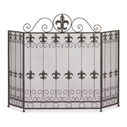 French Revival - French Revival Fireplace Screen - A touch of French form will add a dash of style to your fireplace.  This beautiful iron screen features a gorgeous pattern of fleur de lis metal cutouts accented by scrolling designs. The top features a large fleur de lis that accentuates it's continental charm!  Opened: 46.25 inches wide.