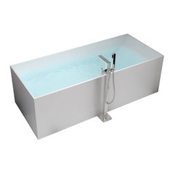 ADM - ADM White Stand Alone Solid Surface Stone Resin Bathtub, Matte - SW-122L