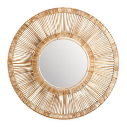 Lazy Susan - Lazy Susan LZS-466026 Natural Split Rattan Spoke Mirror - Large - Old west meets tropical island. Handmade from natural rattan and available in two sizes, this one-of-a-kind mirror will bring a casual elegance to your decor.