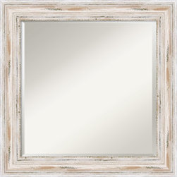 "Amanti Art - Alexandria Whitewash Wall Mirror - This mirror features a distressed whitewashed frame with a distinctive high outer edge design. The frame is 3"" wide, 2"" deep and made from wood, which is considered to be the finest in framing materials."
