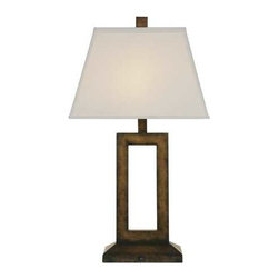 Contemporary Table Lamp with Rectangular Cutout -