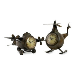 """IMAX CORPORATION - Lindbergh Aviation Clocks - Set of 2 - Whimsical vintage body style airplane and helicopter with clock faces. Set of 2 in various sizes measuring around 13.5""""L x 13.5""""W x 12""""H each. Shop home furnishings, decor, and accessories from Posh Urban Furnishings. Beautiful, stylish furniture and decor that will brighten your home instantly. Shop modern, traditional, vintage, and world designs."""