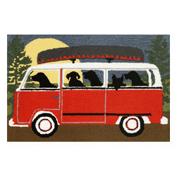 "Trans-Ocean Inc - Camping Trip Red 30"" x 48"" Indoor/Outdoor Rug - Richly blended colors add vitality and sophistication to playful novelty designs. Lightweight loosely tufted Indoor Outdoor rugs made of synthetic materials in China and UV stabilized to resist fading. These whimsical rugs are sure to liven up any indoor or outdoor space, and their easy care and durability make them ideal for kitchens, bathrooms, and porches; Primary color: Red;"