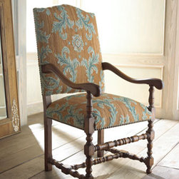 """French Market Collection - """"Caroline"""" Chair - Handcrafted ash wood frame combined with hand-spun wool in an Aubusson weave, conspire to create this beautiful """"Caroline"""" armchair.  Use this lovely chair for extra seating in your living room or as an accent chair in the bedroom.  24""""W x 26""""D x 48""""T."""