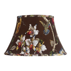 "Lamps Plus - Country - Cottage Olive Botanical Bell Lamp Shade 10x17x11 (Spider) - This large bell shade features a curvaceous body for a look that is sure to command attention. The exterior is wrapped in a olive botanical print fabric and the chrome spider fitter allows you to easily add to any table or floor lamp. Correct size harp and finial included. Bell shade. Olive botanical print. Polished brass finish spider fitter. Unlined. Correct size harp and finial included. 10"" across the top. 17"" across the bottom. 11"" high.  Bell shade.   Olive botanical print.   Polished brass finish spider fitter.   Unlined.   Correct size harp and finial included.   10"" across the top.   17"" across the bottom.   11"" high."