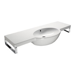 GSI - Wide Curved Ceramic Wall Mounted Bathroom Sink, One Faucet Hole - Wide curved rectangular wall mounted bathroom sink for your modern or contemporary bathroom setting. Sink made out of high quality ceramic finished in white. This sink includes overflow and the option for no faucet holes, a single hole, or three holes. Made in Italy by GSI.