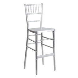 Flash Furniture - Flash Furniture Flash Elegance Silver Wood Chiavari Barstool - SZ-SILVER-BAR-GG - Chiavari Bar Stools are becoming wildly popular as more bar height tables are being introduced in the event world. Coordinate your Chiavari chairs with this attractive wood Chiavari bar stool. Keep your guests comfortable with optional hard and soft cushions. [SZ-SILVER-BAR-GG]