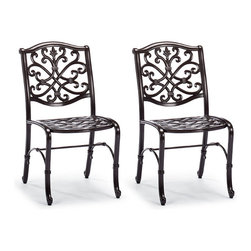Frontgate - Set of Two Orleans Outdoor Bistro Chairs in Biscayne Finish, Patio Furniture - Solid cast 100% ingot aluminum frame, a premium quality material. Hand-filed welds. Rust-resistant powdercoated frames with UV protected top coat. All-weather biscayne powdercoat finish. Chair cushion sold separately. Pull up to the table with a chair inspired by New Orleans' glorious French architecture. An exceptional level of craftsmanship is reflected in the crescendo of scrolls that flows from the curving arms to chair back, and the acanthus-embossed legs.Part of the Orleans Chocolate Collection. .  .  . All-weather chocolate powdercoat finish .  . 100% solution-dyed and woven fabrics . All-weather cushion is filled with polyester fiberfill . Cushions also available with 100% waterproof Sunbrella Rain performance fabric.